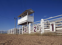 Rodeo Gates. Six rodeo gates beneath the announcer's booth at a rural rodeo Stock Photography