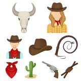 Rodeo icon in set collection on cartoon Stock Image