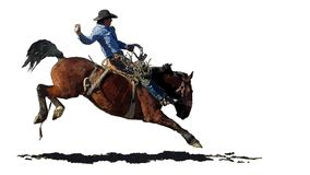 Rodeo kowboj na bryka koniu ilustracji