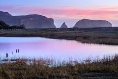 Rodeo Lagoon in Dusk Colors. Rodeo Lagoon near Sausalito in Marin County, California, USA Stock Image
