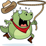 Rodeo Lizard. A cartoon rodeo lizard with a lasso Stock Photography