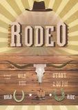 Rodeo lub Dziki Zachodni tematu przyjęcie Sztandar, flayer westernu karta zdjęcie royalty free