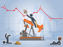 Rodeo with oil pump instead mechanical bull. Stick figures rides oil pump as mechanical bull with graph of oil price in a background Stock Photography