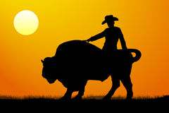 Rodeo rider silhouette vector sunset stock illustration