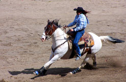 Rodeo Series. A woman on a horse Royalty Free Stock Image