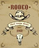 Rodeo Themed Graphic with Cowboy Hat and Skull Stock Images