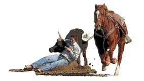 Rodeo throw down cowboy lost his hat royalty free illustration