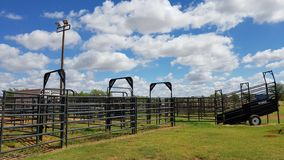 Rodeo training grounds cloudy blue sky royalty free stock images