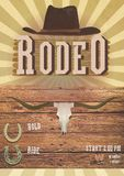 Rodeo of van Wilde Westennen themapartij Banner, flayer westelijke kaart De prentbriefkaar van Texas royalty-vrije illustratie