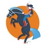 Rodeoaffisch. Cowboy på häst med text som isoleras på royaltyfri illustrationer