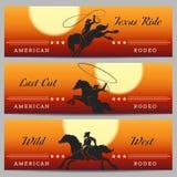 Rodeocowboy Banner Set Royalty-vrije Stock Afbeeldingen