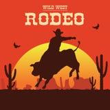Rodeocowboy die een wilde stier berijden vector illustratie