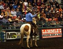 Rodeocowboy On Horseback Arkivbilder