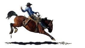 Rodeocowboy op een hardnekkig verzetten tegend paard stock illustratie