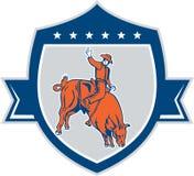 RodeocowboyBull Riding Retro sköld royaltyfri illustrationer