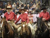 Rodeocowboyer på hästrygg Fotografering för Bildbyråer