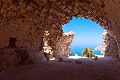 Rodi, Grecia, castello di Monolithos fotografia stock libera da diritti
