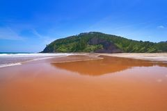 Rodiles Beach in Asturias of spain. Near villaviciosa river stock photography