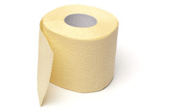 Rodillo amarillo del papel higiénico Foto de archivo libre de regalías