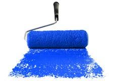 Rodillo con la pintura azul Imágenes de archivo libres de regalías