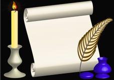 Rodillo con la pluma y la vela Foto de archivo libre de regalías