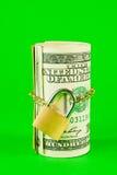 Rodillo dólar americano encadenada y bloqueada foto de archivo libre de regalías
