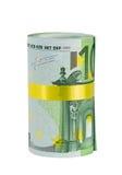 Rodillo de 100 billetes de banco euro con la cinta amarilla Imagen de archivo