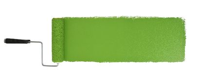 Rodillo de pintura con el movimiento del verde de Logn imágenes de archivo libres de regalías