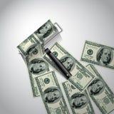 Rodillo de pintura del dólar Foto de archivo libre de regalías