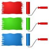 Rodillo de pintura en variantes tricolores Fotos de archivo