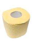 Rodillo de un papel higiénico amarillo. Fotografía de archivo