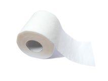 Rodillo del papel higiénico aislado en blanco Fotografía de archivo libre de regalías