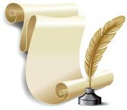 Rodillo del papel y de la pluma viejos en el inkwell Foto de archivo libre de regalías