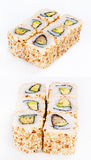 Rodillo del sushi con la anguila y el aguacate Fotos de archivo libres de regalías