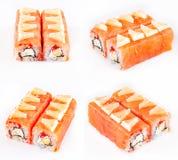 Rodillo del sushi con los salmones y el queso Imagen de archivo libre de regalías