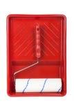Rodillo y bandeja roja Fotografía de archivo libre de regalías