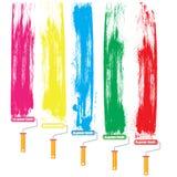 Rodillo y color de pintura Imagen de archivo libre de regalías