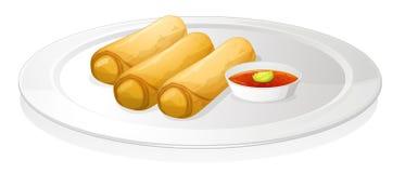 Rodillo y salsa de pan stock de ilustración
