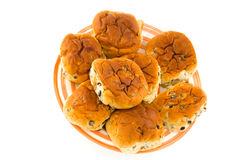 Rodillos de pan de las pasas Imagen de archivo