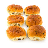 Rodillos de pan de las pasas Fotografía de archivo libre de regalías