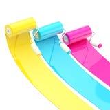 Rodillos de pintura brillantes coloridos con los movimientos del color Fotografía de archivo libre de regalías