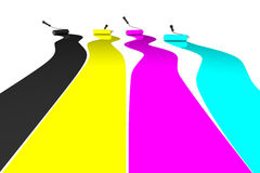Rodillos de pintura en CMYK stock de ilustración