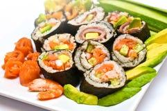 Rodillos de sushi clasificados Imágenes de archivo libres de regalías