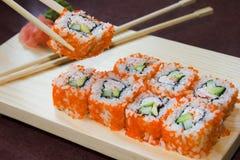 Rodillos de sushi de California Fotografía de archivo