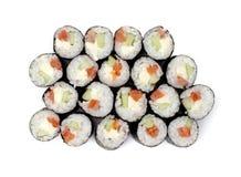 Rodillos de sushi de Maki con los salmones y el queso de California Imagen de archivo libre de regalías