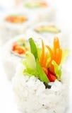 Rodillos de sushi vegetarianos, macro Fotografía de archivo