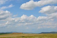 Rodillos del heno en los campos Foto de archivo libre de regalías
