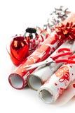 Rodillos del papel de embalaje de la Navidad Foto de archivo libre de regalías