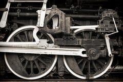 Rodillos impulsores y Roces de vapor de la vendimia vieja de la locomotora Imágenes de archivo libres de regalías