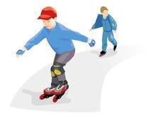 Rodillos patinadores de los muchachos. Vector Imagenes de archivo